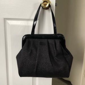 Lulu Guinness black woven bag